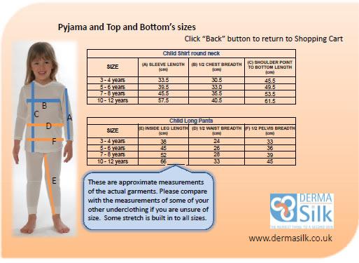 DermaSilk Pyjamas Size Guide